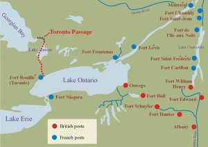 French map of Lake Ontario depicting Teiaiagon