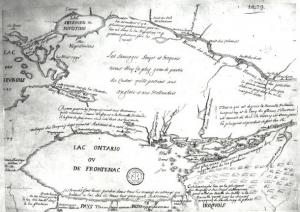 Map drawn in 1675, depicting early settlements on the northern shore of Lake Ontario. This is the first reference to Toronto on any map